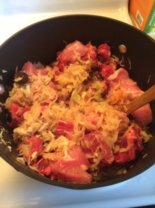 Step 3:  Combining chopped meat with the kraut
