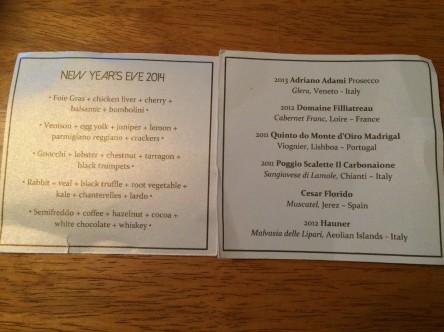 The menu as presented